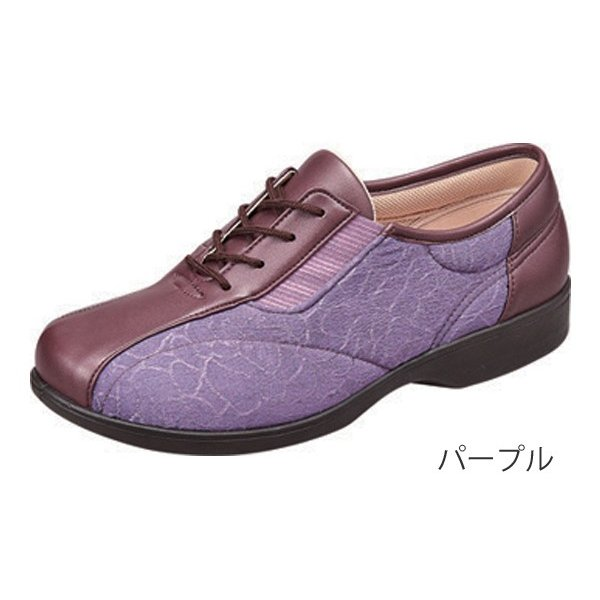 らくらくL007 パープル/23.5cm 左右一足(ムーンスター)