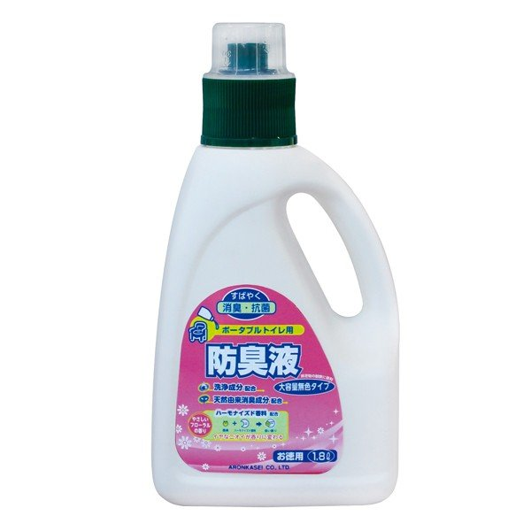 (ケース販売)アロン化成 安寿 ポータブルトイレ用防臭液大容量(無色)1,800ml×6本入