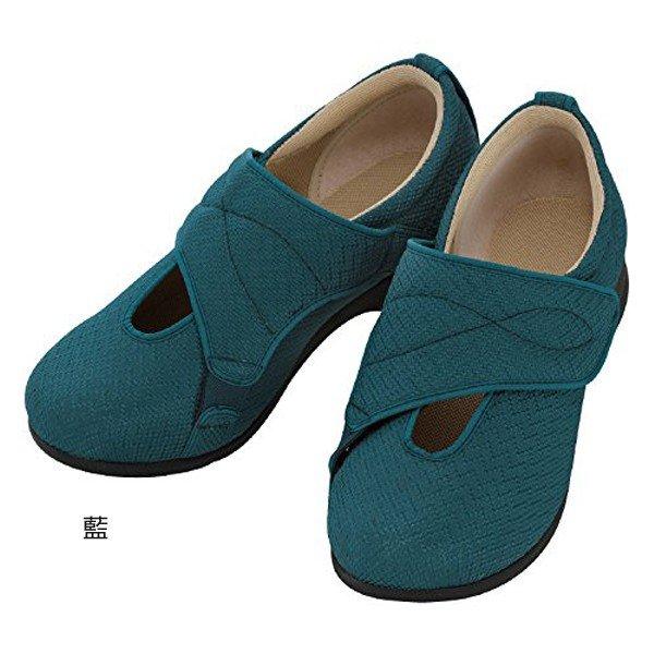 あゆみ さざなみ(足囲3E) 藍/M(22~22.5cm)左右一足(徳武産業)