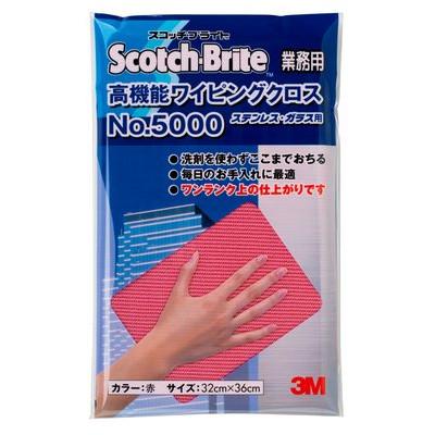 スコッチ・ブライト 高機能ワイピングクロスNO.5000  32X36CM 赤 WC5000 RED 20枚