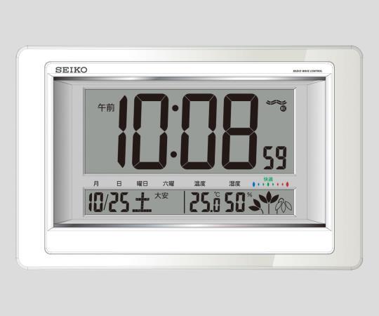 2-7730-11 温度湿度計付電波デジタル時計 SQ432W