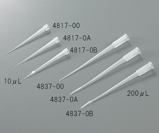3-6370-03 ゲル用チップ ラック入り 10μL 平 0.17mm