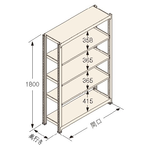 扶桑金属工業(株) 中量ラック Kタイプ150KG GSN-K1809B5R