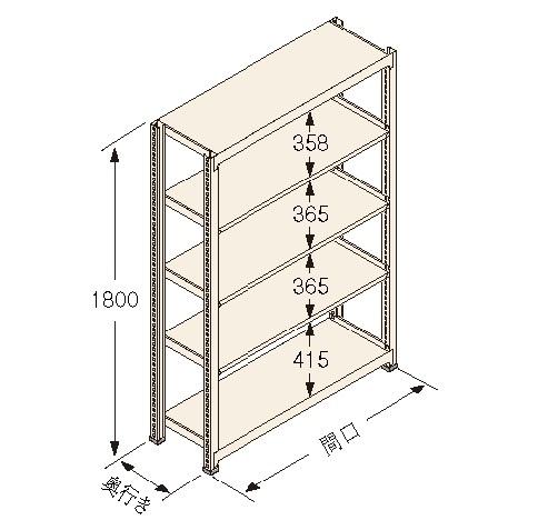 扶桑金属工業(株) 中量ラック Kタイプ150KG GSN-K1815C5D