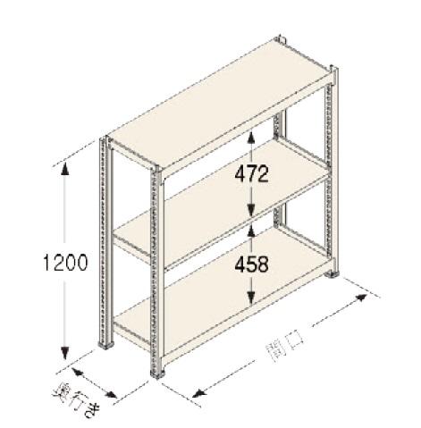 扶桑金属工業(株) 中量ラック Cタイプ300KG GSN-C1212C3R