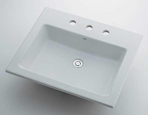 カクダイ 角型洗面器//3ホール 493-009