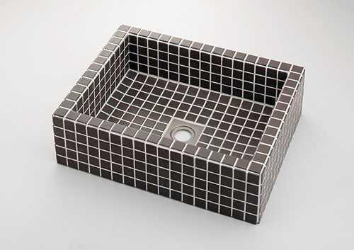 カクダイ 角型洗面器//グレーブラウン 493-143-GB