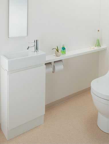 カクダイ 手洗カウンター(L・R兼用タイプ)//ホワイト 497-504-W