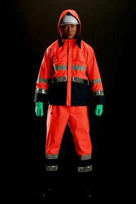雨衣 M8920高視認性雨衣 上下 蛍光オレンジ Lサイズ