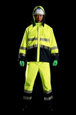 雨衣 M8920高視認性雨衣 上下 蛍光イエロ- ELサイズ