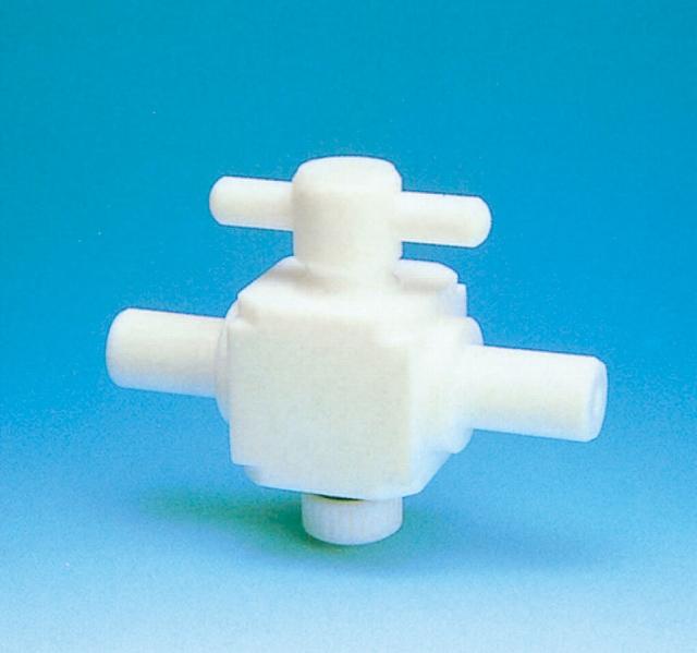 オールPTFE二方バルブ(圧入用 )(PTFE製) 枝管外径6φ プラグ13.5 オリフィス径φ3