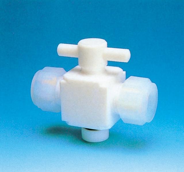 オールPTFE二方バルブ(接続用 )(PTFE製)適用チューブ外径10φプラグ18 オリフィス径φ5