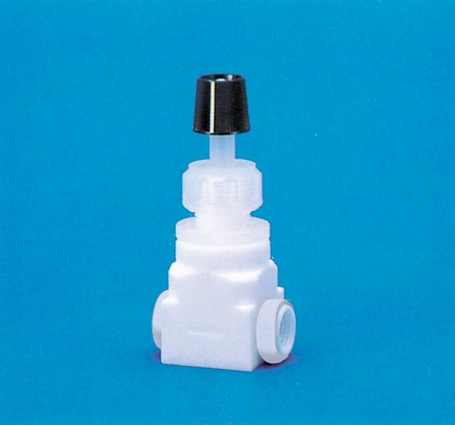 PTFEニードルバルブ装置用水平型(PTFE/PFA製)オリフィス径φ4 接続ネジPT1/4