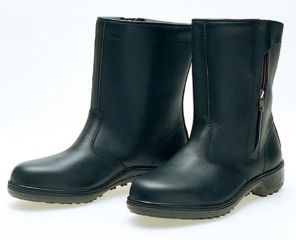 普通作業用長靴 S級 D-7006 半長靴チャック付 黒  (25.0cm)
