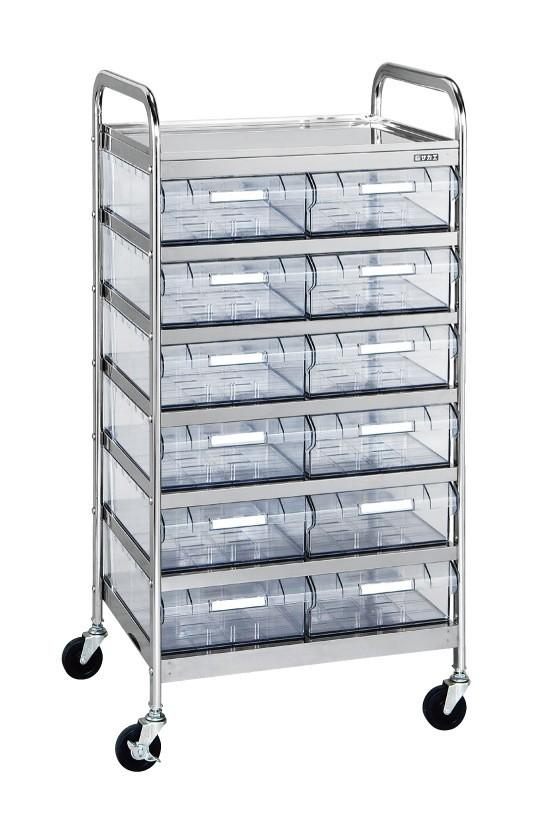サカエ CSワゴン透明ボックス付 代金引換不可商品 CSB-12RSU 店内全品対象 人気ブランド