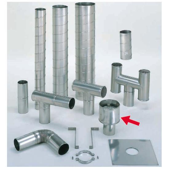 信州工業 オプション部品 ステンレス スパイラル煙突B型 材質:SUS304 厚み:0.4~0.5mm 本体接続アタッチメント (SG-6S向け)
