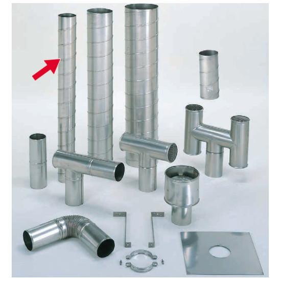 信州工業 オプション部品 ステンレス スパイラル煙突B型 材質:SUS304 厚み:0.4~0.5mm 直筒(115φ) 3.6m (SG-6S・SG-40S・SG-50DX向け)