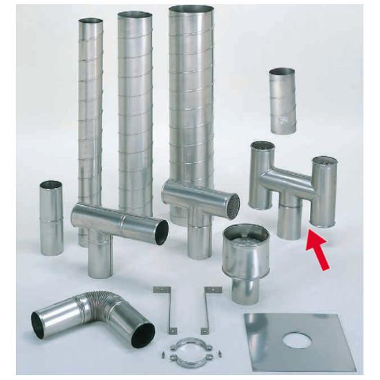 信州工業 オプション部品 ステンレス スパイラル煙突B型 材質:SUS304 厚み:0.4~0.5mm H笠(115φ) (SG-6S・SG-40S・SG-50DX向け)