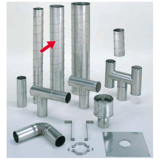 信州工業 オプション部品 ステンレス スパイラル煙突B型 材質:SUS304 厚み:0.4~0.5mm 直筒(175φ) 3.6m (SG-100CXS・SG-100H・SBS-050向け)