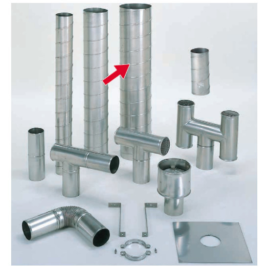 信州工業 オプション部品 ステンレス スパイラル煙突B型 材質:SUS304 厚み:0.4~0.5mm 直筒(225φ) 3.6m (SO-507XS向け)