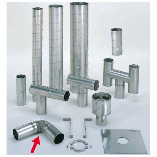 信州工業 オプション部品 ステンレス スパイラル煙突B型 材質:SUS304 厚み:0.4~0.5mm エビ曲り(225φ) (SO-507XS向け)