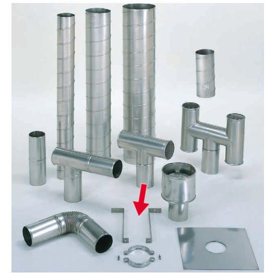 信州工業 オプション部品 ステンレス スパイラル煙突B型 材質:SUS304 厚み:0.4~0.5mm 取付金具脚 長さ750×2本 (共通)