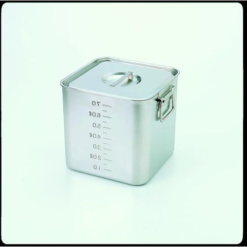 スギコ 18-8目盛付深型角キッチンポット(フタ付) SH-4227D(手付)