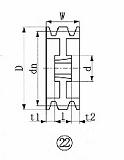EVN ブッシングプーリー SPA 212mm 溝数3 SPA2123