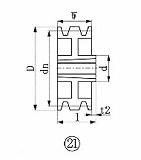 EVN ブッシングプーリー SPA 300mm 溝数3 SPA3003