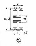EVN ブッシングプーリー SPB 212mm 溝数3 SPB2123
