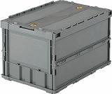 TRUSCO 薄型折りたたみコンテナ 50Lロックフタ付 豪華な 現品 グレー TRC50B