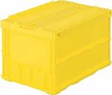 TRUSCO 薄型折りたたみコンテナ 返品送料無料 50Lロックフタ付 イエロー ファクトリーアウトレット TRC50B