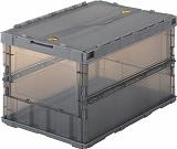 TRUSCO 薄型折りたたみコンテナスケル 50Lロックフタ付 新品未使用 TSKC50B オーバーのアイテム取扱☆ ブラック