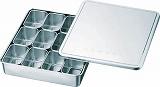 スギコ 18-8検食用容器 田型日付入 12個入 327×286×63 KS001