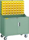【500円引きクーポン】 TRUSCO パネルコンテナラック 移動式保管庫付 コンテナ小X48 HT0648NC:GAOS 店-DIY・工具