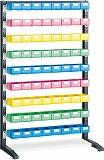 TRUSCO UPRラック片面 H1450 ビン小青X24赤・黄・薄緑各16個付 UPRL1409A