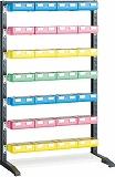 TRUSCO UPRラック H1450 ビン大青・赤・黄各8個 薄緑X4個付蓋付 UPRL1407BF