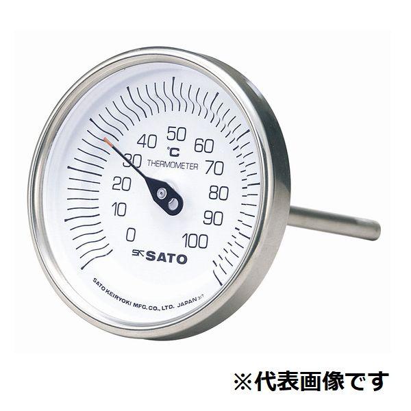 佐藤計量器 バイメタル温度計 100℃-L=100/2010-32 BM-T-90S-100100