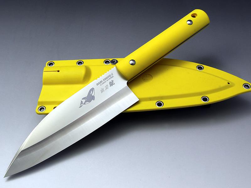 G・サカイ サビナイフ4 出刃シャチ 黄色 片刃