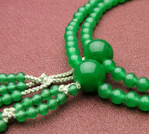 【日蓮宗[女性用]】印度翡翠 共仕立 8寸【数珠/念珠/本式念珠】【HLS_DU】