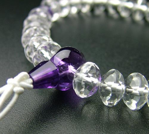 SSカット 本水晶紫水晶仕立(9×6mm)【腕輪・ブレス・パワーストーン】【HLS_DU】
