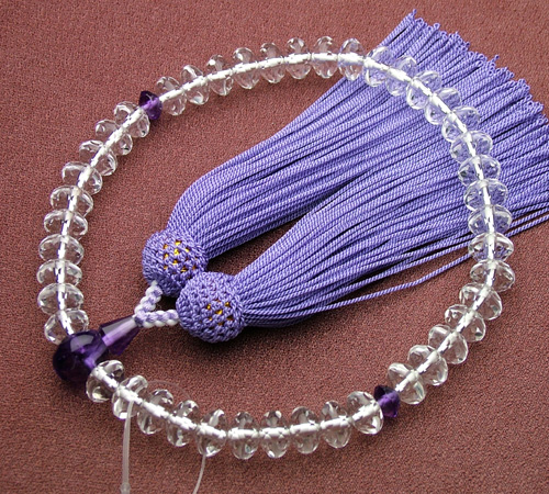 SSカット 本水晶紫水晶仕立(9×6ミリ)正絹頭付【匠・数珠/念珠[女性用]】【HLS_DU】