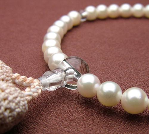 本真珠6ミリ 水晶仕立 薄ピンク色房(正絹頭付)【高級念珠/数珠・女性】【HLS_DU】
