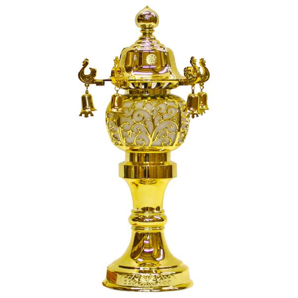 【小型灯・盆提灯/ちょうちん】10号鈴付(ゴールド) 1対【HLS_DU】