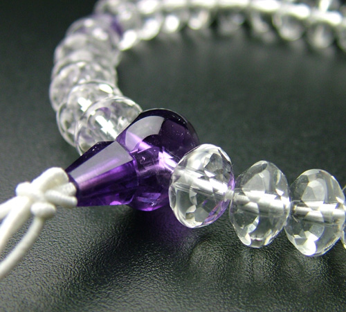 SSカット 本水晶紫水晶仕立(9×6mm)【腕輪・ブレス・パワーストーン】【#2】【HLS_DU】