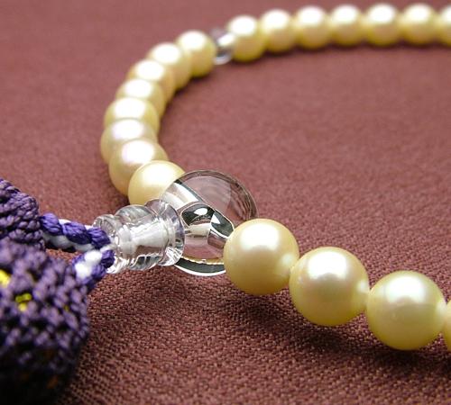 ゴールドパール6ミリ 水晶仕立 藤色房(正絹頭付)【高級念珠/数珠・女性】【#2】【HLS_DU】