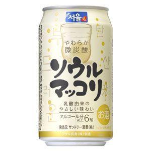 """""""生マッコリ""""のような微炭酸のすっきりとした爽快な口当たり サントリー ソウルマッコリ 350ml缶 24本"""