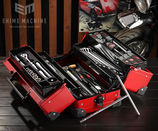 【KTC】 9.5sq. 47点工具セット SK34720WZRMC(特典付)レッド バイクメンテナンスモデル EK-10AR3 採用モデル
