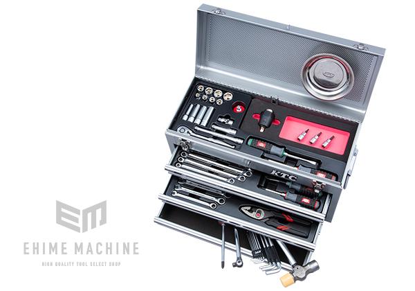【在庫処分】 採用モデル:EHIMEMACHINE トルクル採用ツールセット 店 9.5sq. KTC 在庫少 SK35720XSTQ(特典付)シルバー SKX0213S 57点トルクル採用工具セット-DIY・工具
