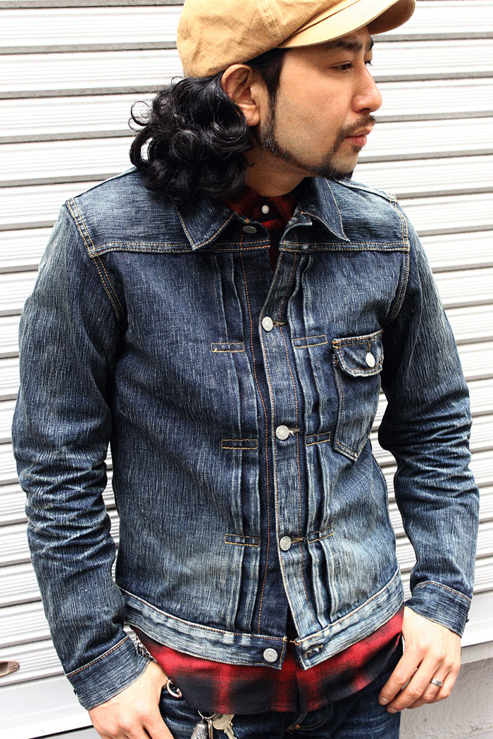 6af637ce ユーズド processing denim jacket [8JK-03RV] domestic production EIGHT-G rial  vintage processing G Jean 1st モデルジージャンユーズド processing man denim ...